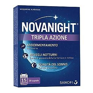 Novanight Tripla Azione Integratore alimentare aiuta a ritrovare il ciclo naturale del sonno con Melatonina, estratti di Papavero della California e Melissa e con estratto di Passiflora - 30 capsule 1 spesavip