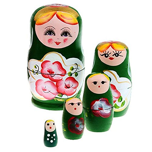 Wildlead 5pcs / Set russische Matryoshka Puppen Cutie Verschachtelungs-Wahnsinn-Spielwaren hölzerne handgemachte Fertigkeit-Puppe-Ausgangsdekor-Kindergeschenke Verschachtelungs-puppen 12