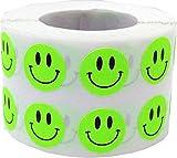 Fluoreszierend Grün Smiley Gesicht Kreis Punkt Aufkleber, 13 mm 1/2 Zoll Rund, 1000 Etiketten auf einer Rolle