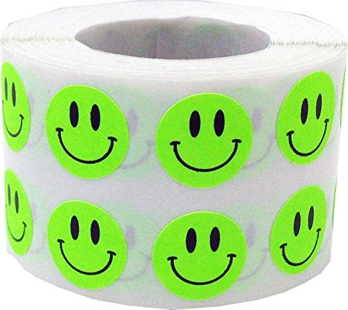 Fluoreszierend Grün Glücklich Gesicht Kreis Punkt Aufkleber, 13 mm 1/2 Zoll Runde, 1000 Etiketten auf einer Rolle