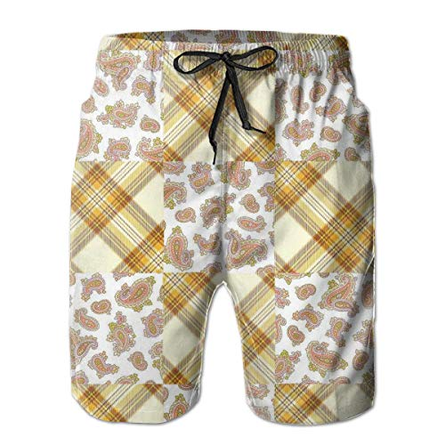 Men Swim Trunks Beach Shorts,Image of Patch and Deceit Lines and Paisley Motifs Nostalgic Stripes Yellow Brown,Quick Dry 3D Printed Drawstring Casual Summer Surfing Board Shorts XXL