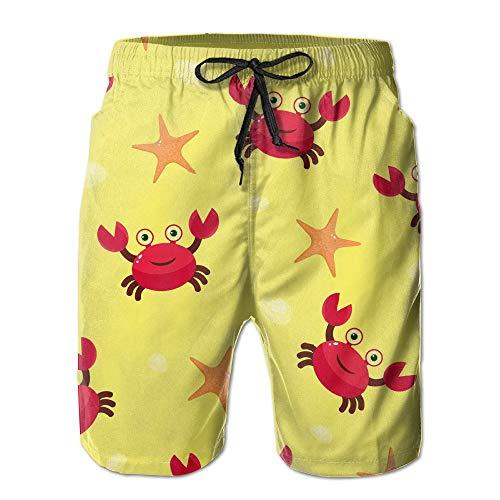 khgkhgfkgfk Crab Sea Star Pattern Summer Quick-Drying Board Short Swim-Trunk for Men Small