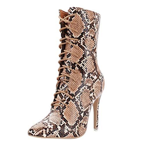 BIKETAFUWY Damen High Heels Stiefeletten Stiletto mit Reißverschluss Spitze Plateau Ankle Boots Schuhe Leopard Knöchel Stiefeletten High Heels Stiefel Faux Suede Spitze Stiletto