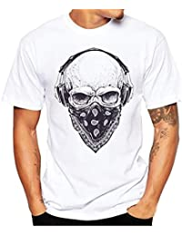 LHWY Camiseta de Manga Corta con Estampado de Calaveras Para Hombre Blusa Atractiva Y Fresca de La Camiseta Verano cwcK974