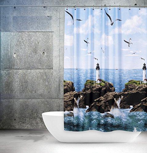 """Edler Textil Duschvorhang 120 x 200 cm """"Leuchtturm am Meer"""" Blau Weiss Grün inkl. Ringe - 6"""