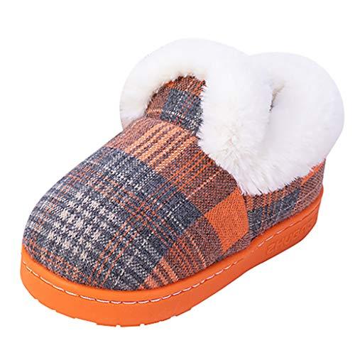 WEXCV Krabbelschuhe Baby Kinder Mädchen Junge Weicher Baumwolle Verdicken Plüsch Winter Warme Lauflernschuhe Kinderschuhe Gitter Weiche Pantoffeln rutschfeste Kleinkind Hausschuhe