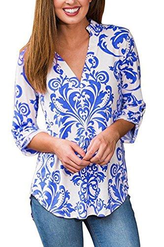 Damen Mit Langen Ärmel T - Shirt Blumenmustern V - Tops Blue
