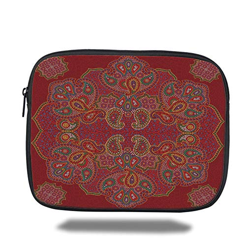 Tablet Bag for Ipad air 2/3/4/mini 9.7 inch,Red Mandala,Moroccan Persian Design Oriental Rectangular Paisley Floral Print Decorative,Burngundy Blue and White -