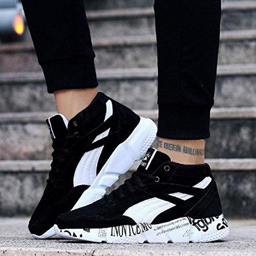 Uomo Scarpe sportive Moda formatori Aumenta le scarpe Piatto Antiscivolo Scarpe da corsa Ballerine Taglia larga euro DIMENSIONE 36-47 Black