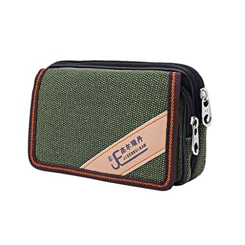 Anjuley Unisex Casual Smart Phone Case Reißverschluss Gürtel Tasche Cover Karte Pocket grün -