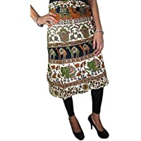 Womans Indian Wrap Skirts Brown Green Animal Print Wrap Around Skirt Beach Wear