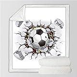 VFUBITZ Coperte Coperta da Calcio Coperta da Calcio Coperta da Basket per Letti 3D Sport Coperta Personalizzata Mattoni incrinati Lettiera da Parete 75cmx100cm Calcio