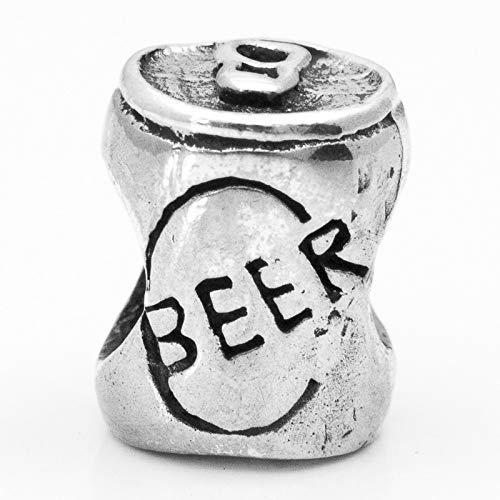 Abalorio Charm Lata de Cerveza Plata de Ley compatible con Pandora