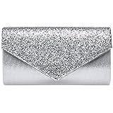 Caspar TA517 Damen kleine elegante Envelope Glitzer Clutch Tasche Abendtasche, Farbe:silber, Größe:Einheitsgröße