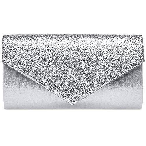 8fa0ebef56 Caspar TA517 Donna Pochette a Busta Scintillante Elegante, Colore:argento,  Dimensioni:Taglia