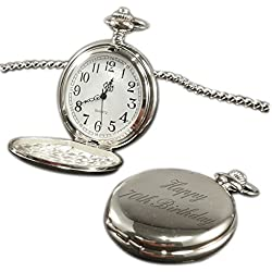 Happy 70th Birthday pocket watch chrome finish, personalised / custom engraved in gift box - pwc
