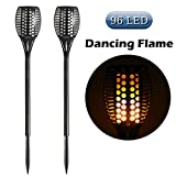 Cinoton Solar Torch Garden Lights 96 LED Flickering landscape Lamp Dancing Flame Lighting for Decoration Festival Atmosphere Outdoor Waterproof(2 Pack)