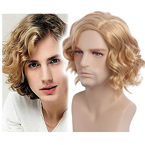 Anime Kostüm Männer Cosplay - STfantasy Braun Short Man Perücke Layered Wave Perücken für Männer Cosplay Kostüm Party Anime Men Wigs (blond)