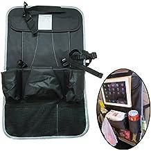 Eleidgs asiento trasero coche organizador plegable, coche asiento trasero para colgar estera pantalla de viaje bolsa de almacenamiento, para organizar iPad/teléfono/caja de pañuelos/paraguas/bebé juguetes/botellas (gris)
