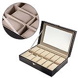 Caja Para Relojes Piel Sintética con 12 Compartimentos, expositor maletín caja de reloj