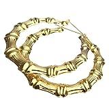 Luxus Punker Creolen Ohrhaenger Dame Gold Bambus Grosse Hoop Ohrring Ohrschmuck
