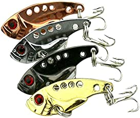 Futaba Metal Sequin Fishing Lures Bass Spoon - Pack of 4
