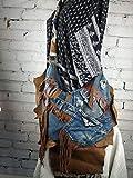 Bolso Denim Cuero Mujer Diseño Original Artesanal de Piel