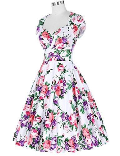 Belle Poque Damen Vintage Retro 1950er Kleid Festliche Kleid Partykleid Farbe8