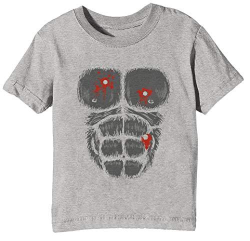 stüm - Schuss Gorilla Brust Kinder Unisex Jungen Mädchen T-Shirt Rundhals Grau Kurzarm Größe XS Kids Boys Girls Grey X-Small Size XS ()
