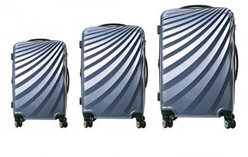 VIVIANA Hartschalen Koffer Trolley in SILBER mit TSA Schloss 3er SET BS-L-XL