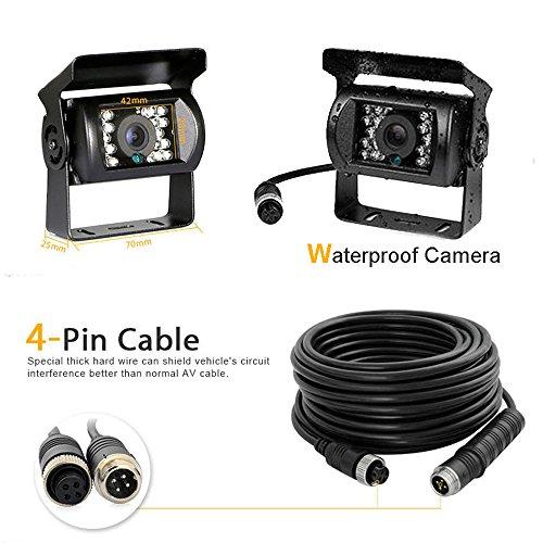 Camecho Camera arrière + 10m 12 V-24 V 4 broches à 18 LEDs IR, étanche, vision de nuit, 4 broches, câble pour voiture/bus/camion/remorque/caravane/camping-car