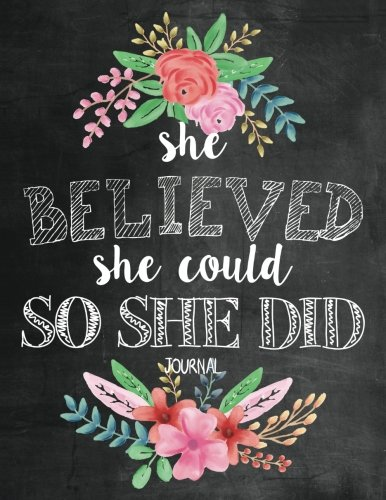 She Believed She Could So She Did Journal: Inspirational Bible Verse Quote Notebook for Women