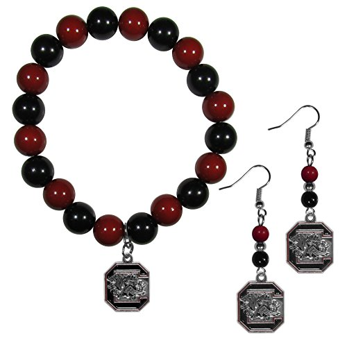 NCAA South Carolina Fighting Gamecocks Fan Bead Armband & Ohrringe Set