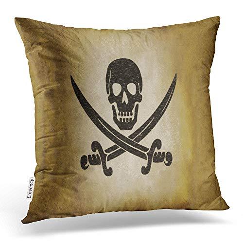 Accrocn Quadratisch Überwurf Kissenbezüge Vintage Jolly Roger Piraten Flagge Kopfkissen Polyester 45,7x 45,7cm mit Verstecktem Reißverschluss Home Kissenbezug Sofa Kissen Deko -