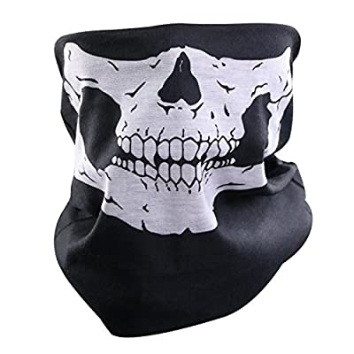 Lmeno Black Skull Face Mask Stretchable Windproof Half Facemask Headwear Motorcycle Biker Cycling Riding mask Face Neck Warmer Duty helmet by Lmeno