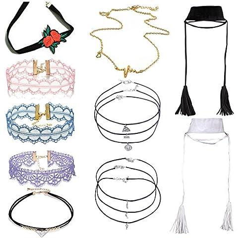 tpocean 100Ethnic Vintage Oval Stickerei Rose Choker Set Dreieck Spitze Quaste Tatoo Anhänger Halsband Halskette Schmuck für Frauen Mädchen Party Geschenke