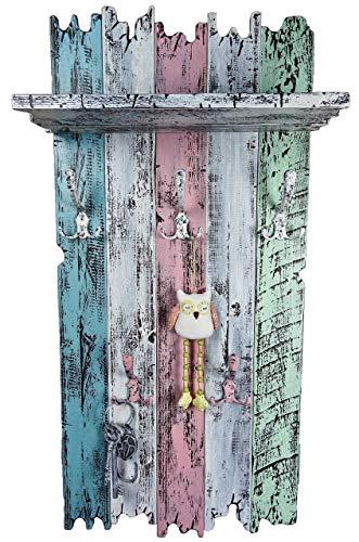 SHaBBy CHic ViNTaGe Holz Garderobe mit 5x3 Metallhaken blau türkis rosa weiß (HXBXT: 115x5ox15 cm) aus Echtholz/Massivholz im used look rustikal Landhaus Stil (alternativ: Gaderobe, Gardrobe) - Blaue Rustikale Kommode