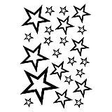 plot4u Sterne Aufkleber Set Outline 14x2,5cm6x5cm2x7,5cm1x10cm schwarz