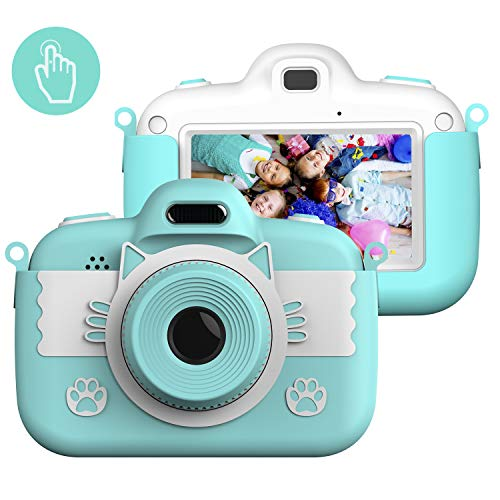 Kinderkamera Digital Kamera, Vannico Touch Screen Kinder Selfie Mini HD Kamera Mädchen Jungen, Digitalkamera für Kinder Actionkameras Camcorder mit 16G SD Karte (Blau)