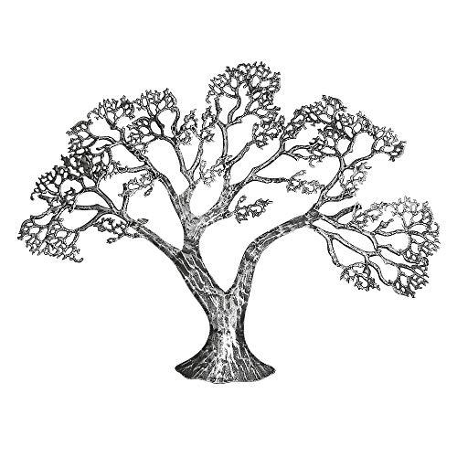 Gilde Handwerk Wanddeko Deko Wandrelief Baum Wandbild Wandbaum Baum silber Metall 68062