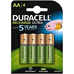 Duracell Recharge Ultra Piles Rechargeables type AA 2500mAh, Lot de 4