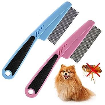 ASAB Pet Touch Ultra-Fine Flea Remover Tool Dog Cat Comb Metal Teeth Fur Hair Coat Healthy Smooth Bath Time Clean