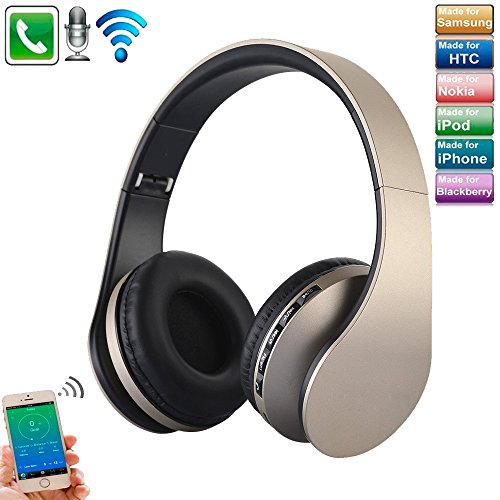 Over Ear Headset Noise Cancelling, TechCode Faltbarer Kabelloser Kopfhörer Bluetooth Kopfhörer Stereo Kopfhörer Digitaler 4 in 1 Kabelloser Stereo Bluetooth 4.1 + EDR Kopfhörer Headset & Kabelmikrofone mit Mikrofon MP3 MicroSD FM Verwendung für iPhone 7/7 Plus, 8/8 Plus, iPhone X, Galaxy S8 / S7, S7 / S7 Rand, Samsung S9 / S9 Plus, Tablet PC / Andere Bluetooth-Gerät (Gold)