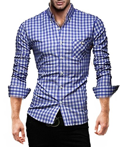 KAYHAN Herren Hemd Slim Kariert leicht Tailliert mehrere Farben K-2014 Bügelleicht Karriert Blau