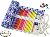 CreooGo Canvas Pencil Wrap, Pencils Roll Case Pouch Hold For 72 Coloured Pencils ( Pencils are not included )-Retro elephant,72 Holes