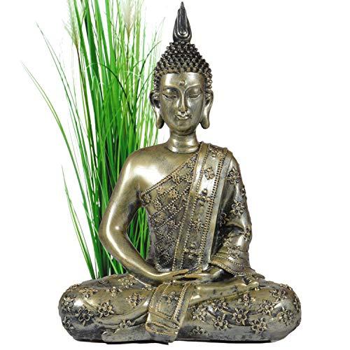 Meditation Buddha-statue (INtrenDU Buddha Figur groß 40cm meditierend Buddhismus Dekoration für die Wohnung)