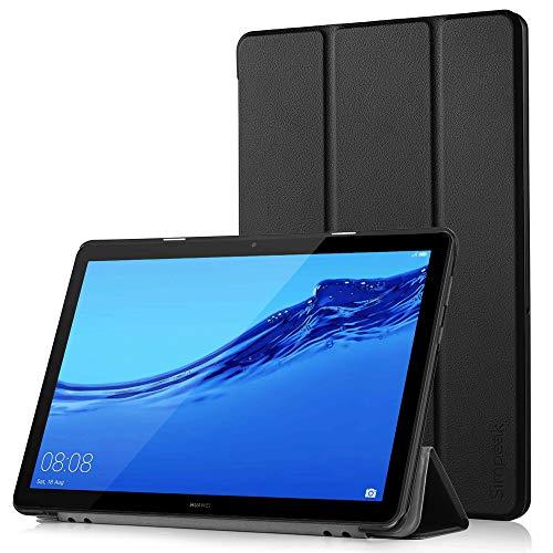 Simpeak Ersatz für Huawei Mediapad T5 10.1 Hülle Schwarz, Ultra Dünn mit Standfunktion für Mediapad T5 10.1 Zoll Schutzhülle Cover Case