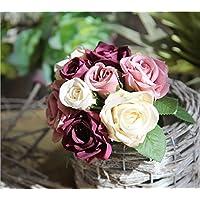 Sisthirth Rose Artificial Bouquet de 9 Cabezas de Flores, Decoración Vintage de Flores de Seda