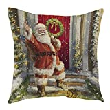 Appliances Packages Best Deals - Decorie Retro Xmas Design Santa Claus Cushion Cover for Sofa Bed Home Decor (Style B)