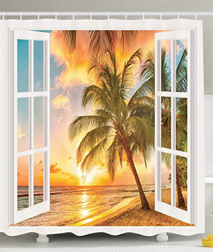 Personalized Decor Sea Ocean for Bathroom Decorations Palm Tree Sunset Scenery Scenic Shower Curtain Fabric Beach House Wooden Windows of Art Pictures Natural Landscape, Brown White,66x72 inches